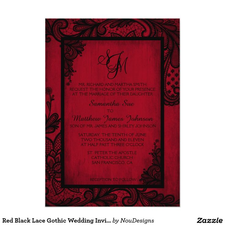 what write on wedding invitation%0A Red Black Lace Gothic Wedding Invitation Card