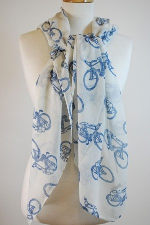 Women's White Vintage #Bicycle Print Scarf