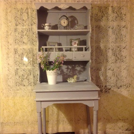 wood desk secretary vintage desk shabby chic desk up cycled distressed chic office desk hutch