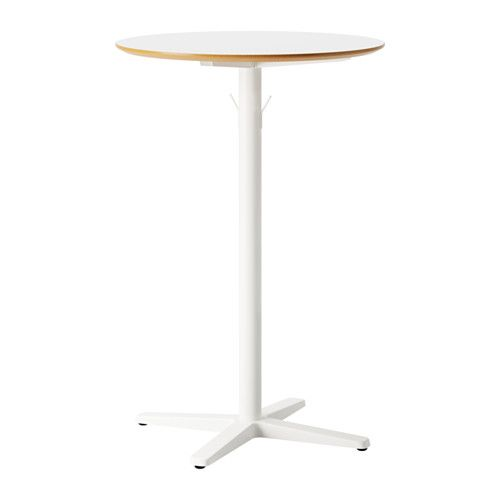 IKEA - BILLSTA, Bar table, Durable and sturdy; meets the requirements on furniture for public use.Table top covered with melamine, a heat- and scratch-resistant finish that is easy to clean.Stands evenly on an uneven floor as it has adjustable feet.You can hang your bag or jacket on the included hooks.