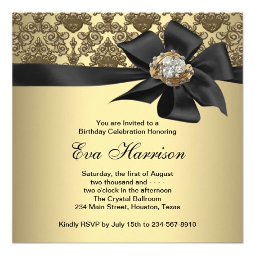Gold Black Damask 50th Birthday Party Card Birthday