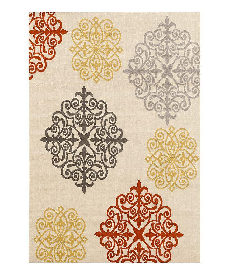 Cream & Red Geometric Damask Rug