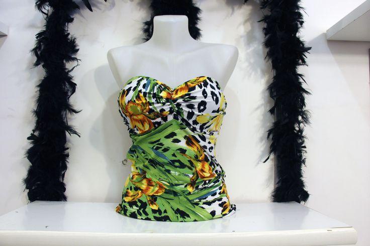 Çiçekli Straplez Sırtı Açık Büstiyer Bayan Spor Abiye Bluz Üst Giyim