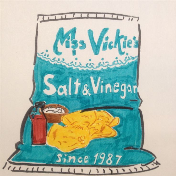 Miss Vickie's salt and vinegar chips drawing by Dhalie Fortin