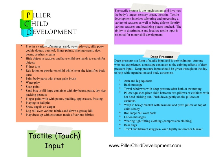 List of tactile activities to integrate more sensory stimulation for children.