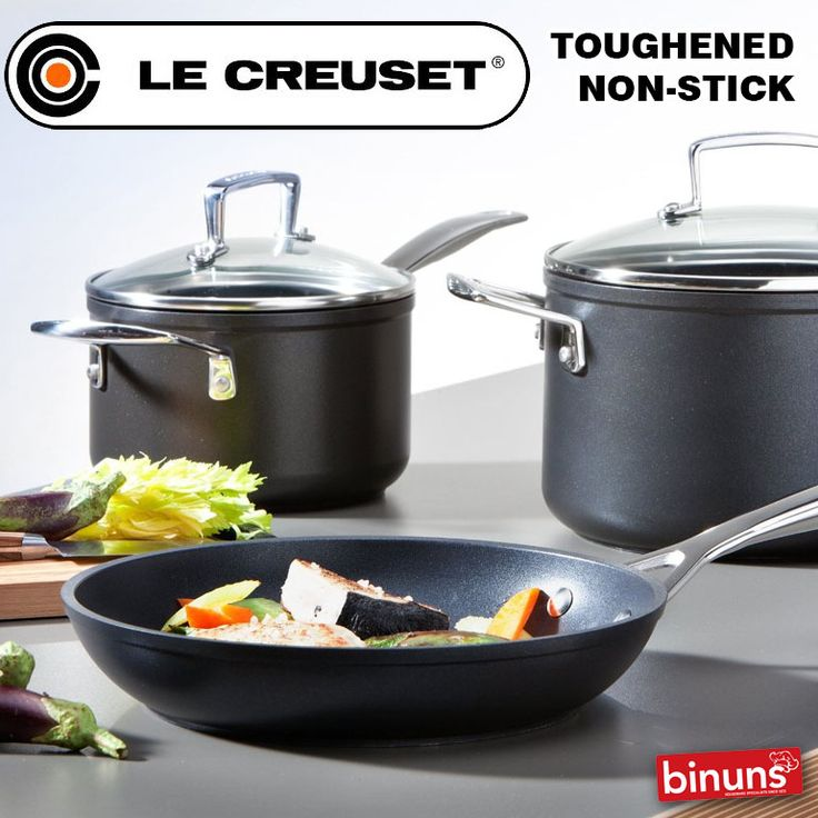 LE CREUSET TOUGHENED NON-STICK  Toughened Non-Stick is a sleek range of versatile and easy yo clean non-stick pans for everyday use. The tough non-stick surface and special hardened body create a long-lasting pan usable on all hobs, so when heated, the pans will not warp or distort. The cast handles are comfortable to hold and are attached with stainless steel rivets for a superior, secure fitting.   http://www.binuns.co.za/Brands/LeCreuset/CookwareToughenedNonStick.aspx