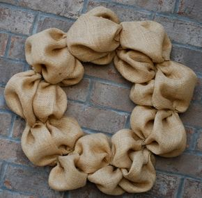 """DIY burlap wreath. 1.5 yards (45"""" wide) burlap, 18"""" wreath form, and floral wire"""