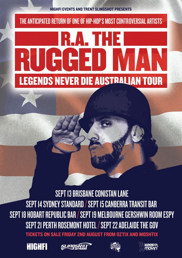 R.A. The Rugged Man - Legends Never Die Australian Tour: Few artists are ever as controversial as they are influential. New York legend R.A. The Rugged Man has lived up to this billing by combining the authenticity of his undeniably rugged life with lyrical skills feared by nearly all of his hip hop peers.