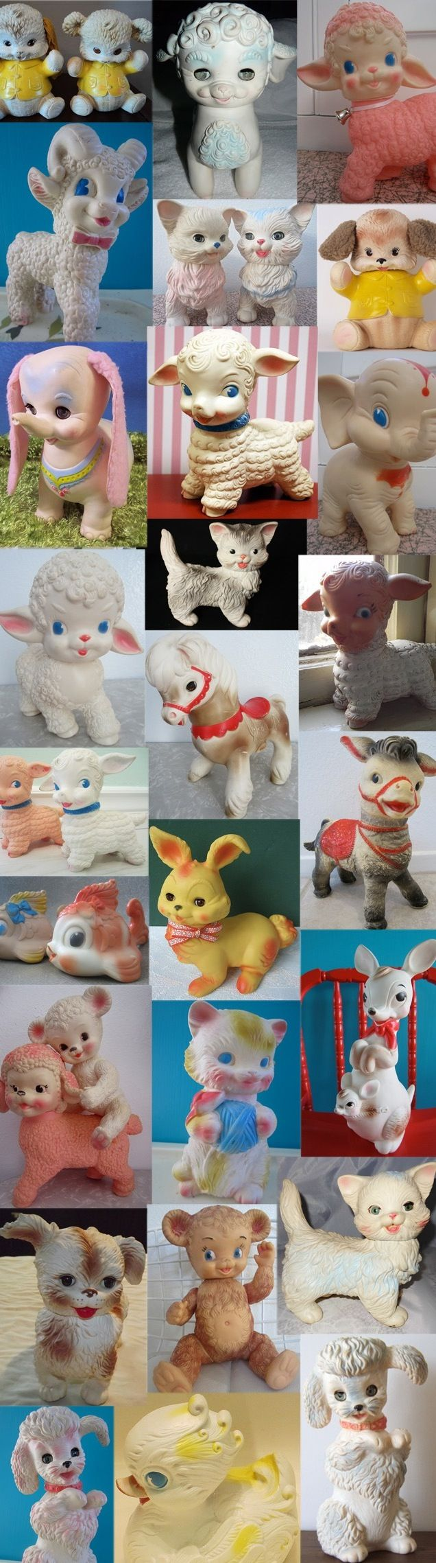 Vintage squeak toys. I still have my little lamb
