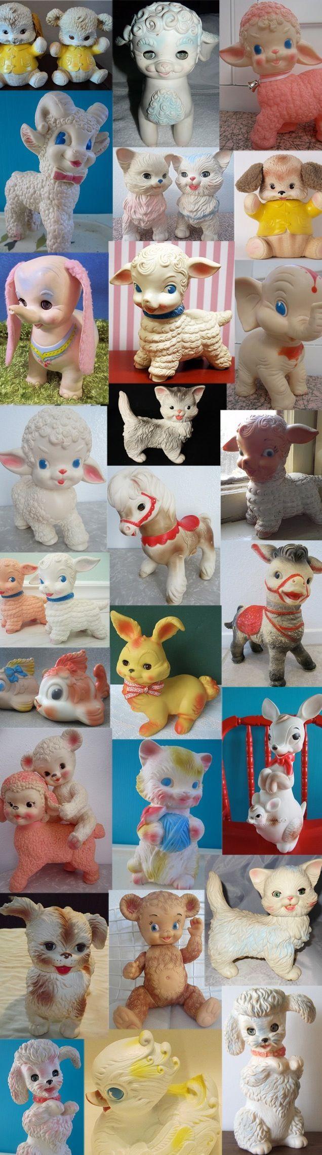 Vintage squeak toys. I still have my little lamb