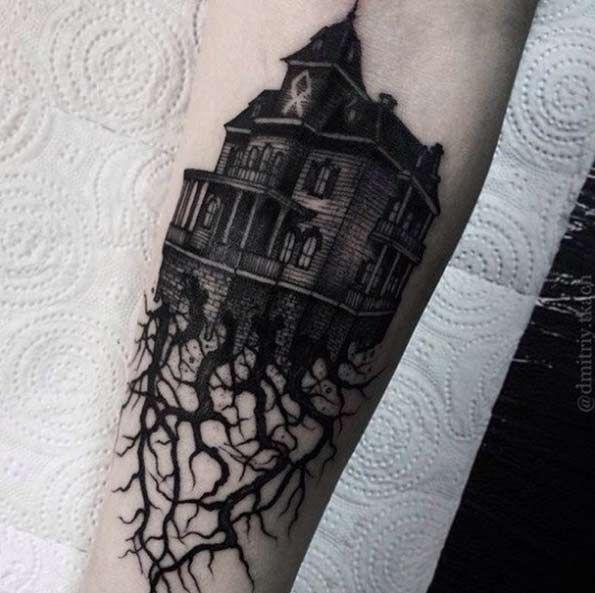 Victorian House Tattoo by Dmitriy Tkach