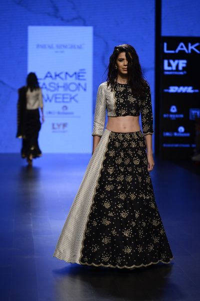 Light Lehengas - Black and Silver Lehenga | WedMeGood | Black and Silver Crop Top with a Two Tone Lehenga #wedmegood #lehenga #indianwedding #indianbride #bridal