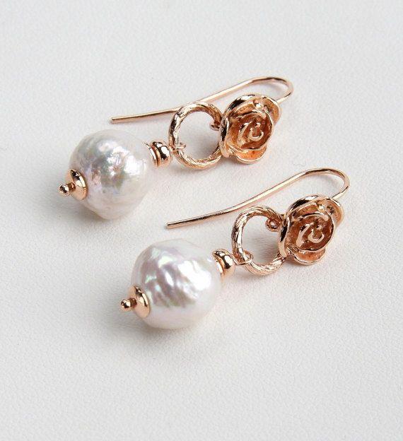 White Pearl Earrings, Rose's Earrings, Sterling Silver, Rose Gold 24K, Handmade Italian Jewelry, High Fashion Earrings, Wedding Gift, 0723