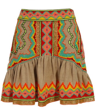 ShopStyle: Matthew Williamson Full skirt with African beading