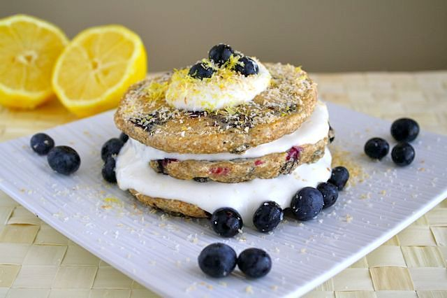 Lemon blueberry pancakesAlmond Milk, Lemon Pancakes, Blueberries ...
