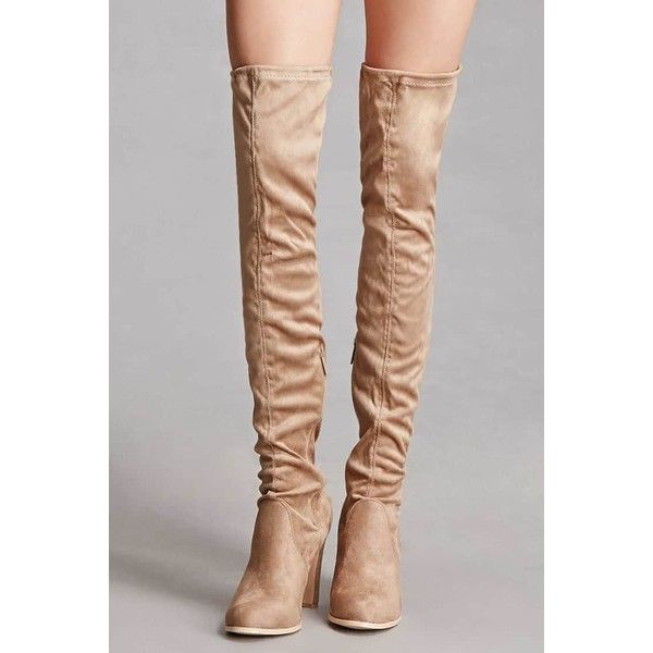 Forever21 Over-the-Knee Sock Boots ($58) ❤ liked on Polyvore featuring shoes, boots, over-the-knee boots, above-knee boots, over the knee platform boots, over the knee boots, platform boots and sock boots