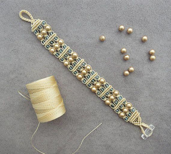 Gold Swarovski Pearl Macrame Bracelet by BlueLotusTreasures.
