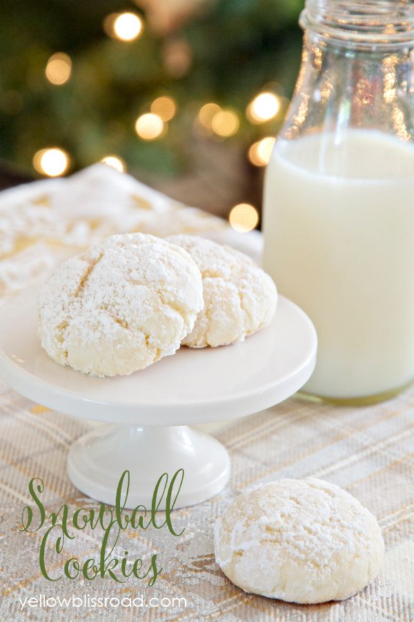 Easy Four-Ingredient Nut-Free Snowball Cookies Recipe ~ a gooey, cakey cookie, dusted with powdered sugar. They're not too sweet, and they just melt in your mouth.