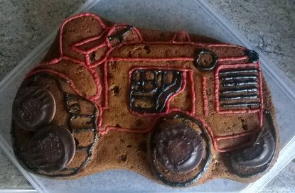 Tractor decorated with icing and jaffa cakes!