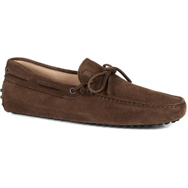 Tod's - Gommino Driving Shoes in Suede ($330) ❤ liked on Polyvore featuring men's fashion, men's shoes, men's loafers, brown, mens brown suede shoes, mens wide shoes, mens brown shoes, mens driver shoes and mens suede shoes