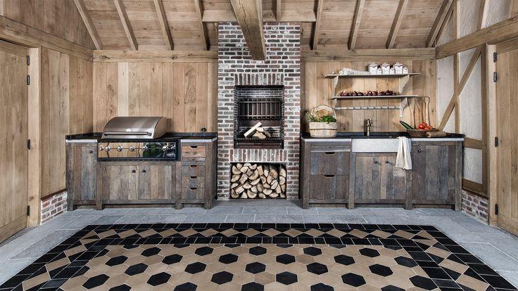 Massieve buitenkeuken landelijke stijl op maat - Geïntegreerde barbeque - Massieve eik - Solid oak outdoor kitchen - Custom made - Ideas - Made to measure kitchen - Built-in BBQ - #WoonTheater