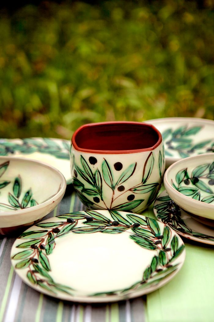 Olives Ceramics handmade of fine red clay \u0026 hand painted by traditional Mediterranean craftsmen! : mediterranean dinnerware sets - pezcame.com