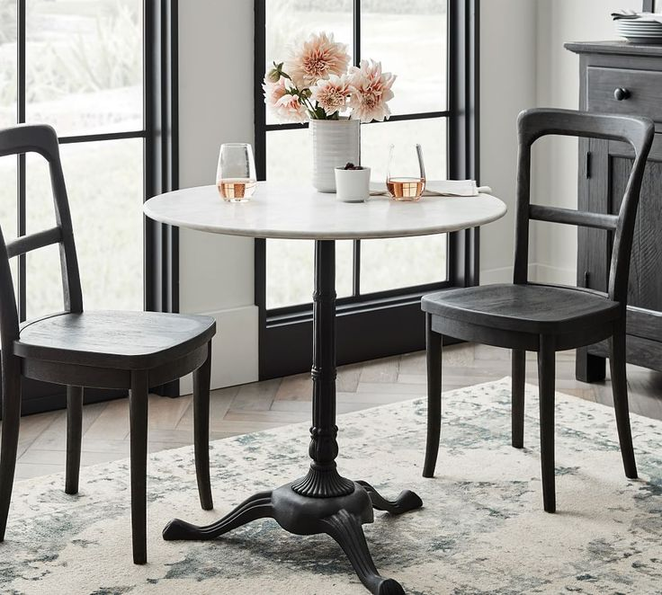Rae Round Marble Pedestal Bistro Table Pottery Barn In
