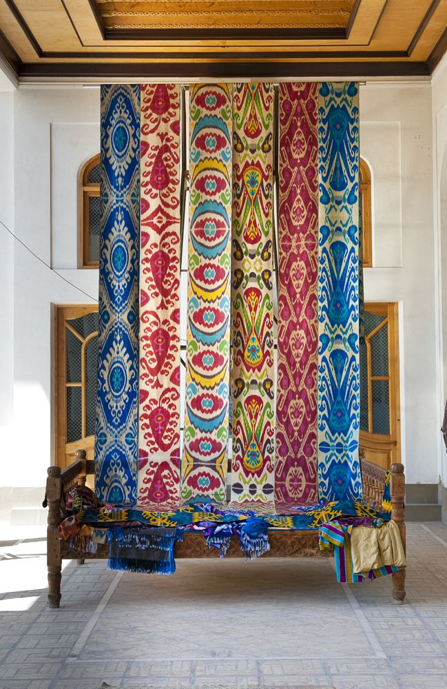 These are ikat-woven fabrics, not printed. There was a very strong ikat tradition in Uzbeckistan that was suppressed during the Soviet era.