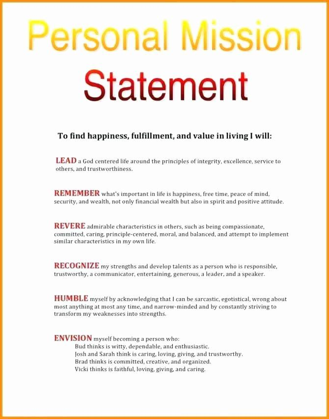 Nursing Mission Statement Example Luxury 15 Personal Leadership State Vision Examples