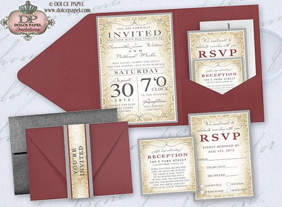 Red And Black Wedding Invitation Kits: Burgundy Red, Orange And Silver Gray Metallic Damask