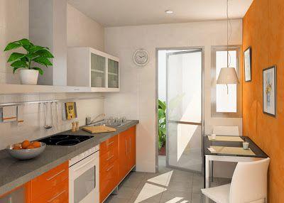 Paredes de la cocina en naranja color - Cocinas color naranja ...