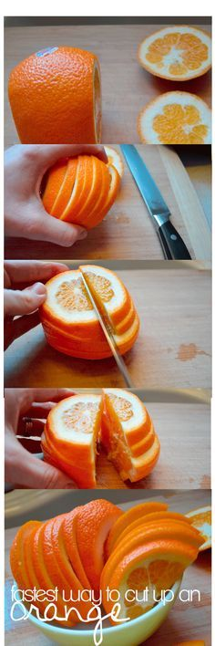 Fastest Way to Slice an Orange. Use this for soccer games, fruit platters, and snacks. I did it in less than 20 seconds!