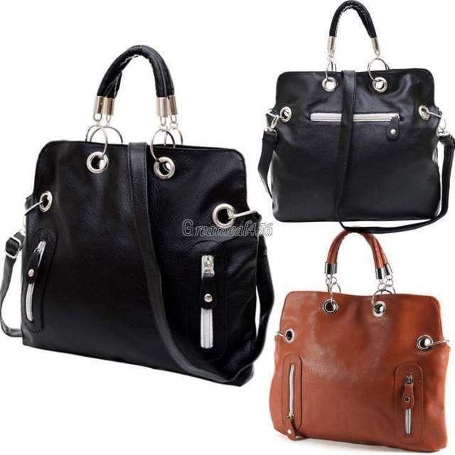 Womens Leather Shoulder Bag Purse Messenger Cross Body Handbag Tote Black Brown #Unbranded #ShoulderBag