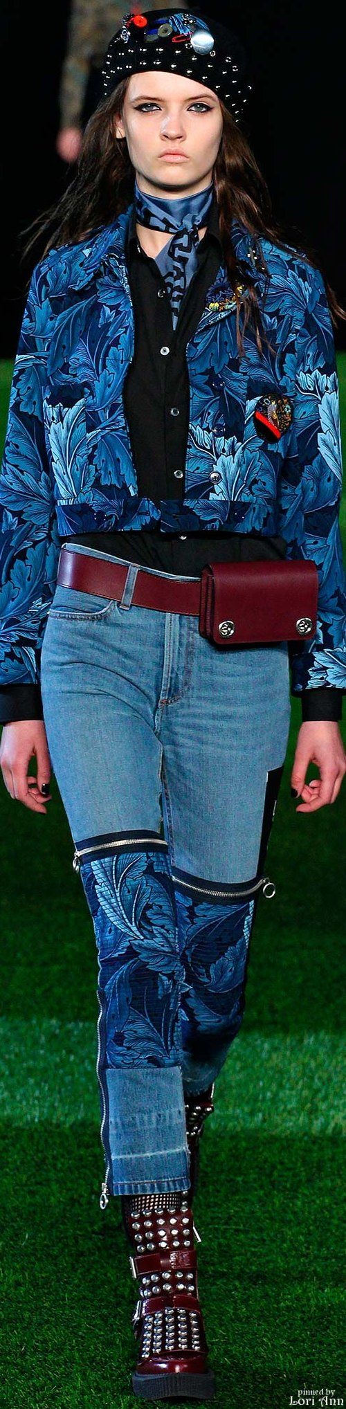 Denim jeans with patchwork and zippers. Marc by Marc Jacobs Fall 2015 RTW