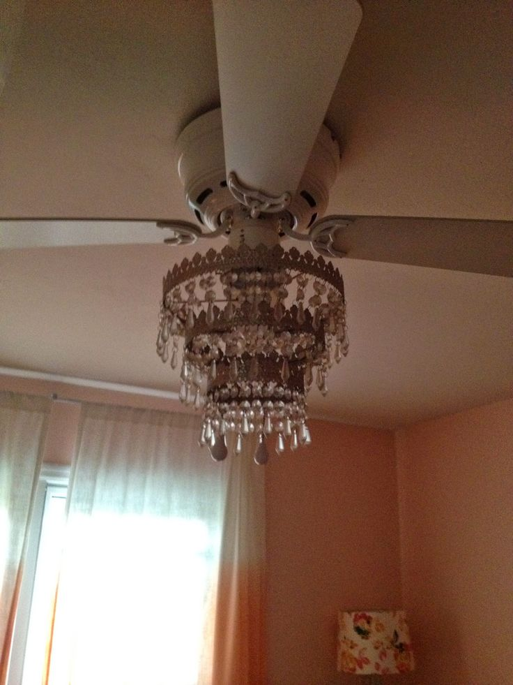 ceiling fan chandelier- I can't remove the ugly ceiling fan so I'm looking to do something like this.