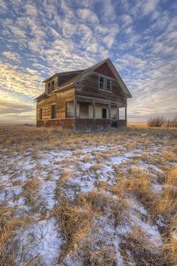 Leap Year Sunset at and abandoned house near the Alberta Saskatchewan border
