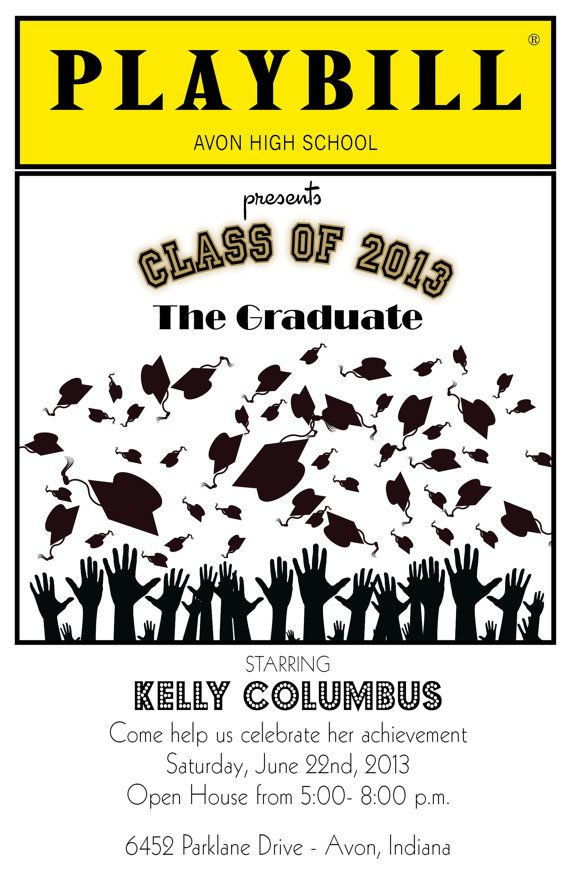 playbill style graduation invitation theater broadway ny theater graduation and grad cap. Black Bedroom Furniture Sets. Home Design Ideas