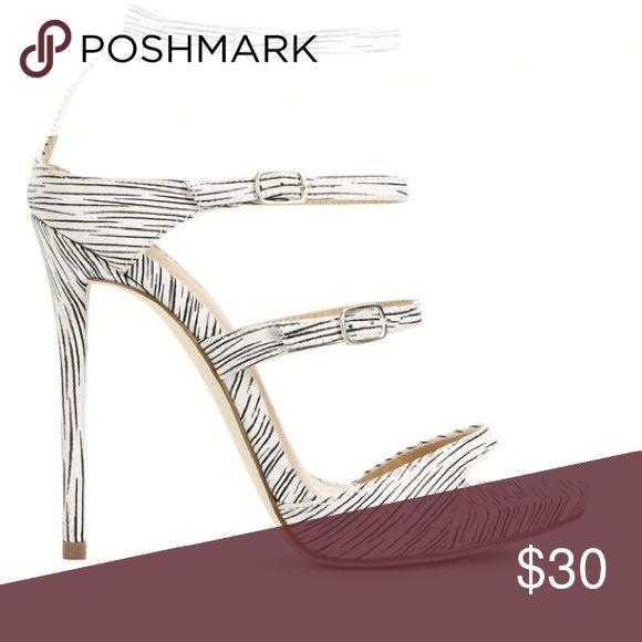 Black and White Heeled Sandal Brand new Zebra pattern summer heals! Shoe Dazzle Shoes Sandals