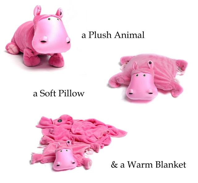 """The Zoobies Motto is """"Play. Sleep. Love."""" 3 for 1: Plush, Pillow and Blanket!"""