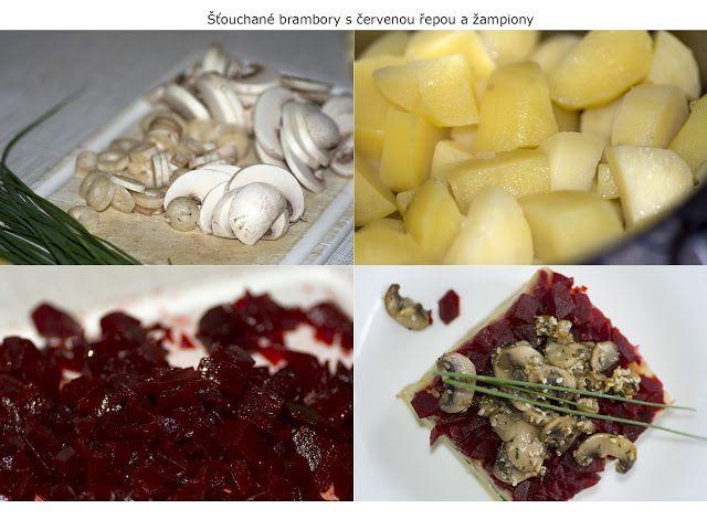 Šťouchané brambory s červenou řepou a žampiony