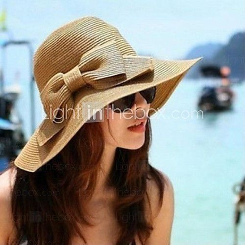 Women's Fashion Bowknot Collapsible Beach Hat - USD $12.99