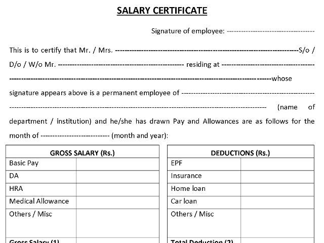 Representative Image For Salary Certificate Format Certificate