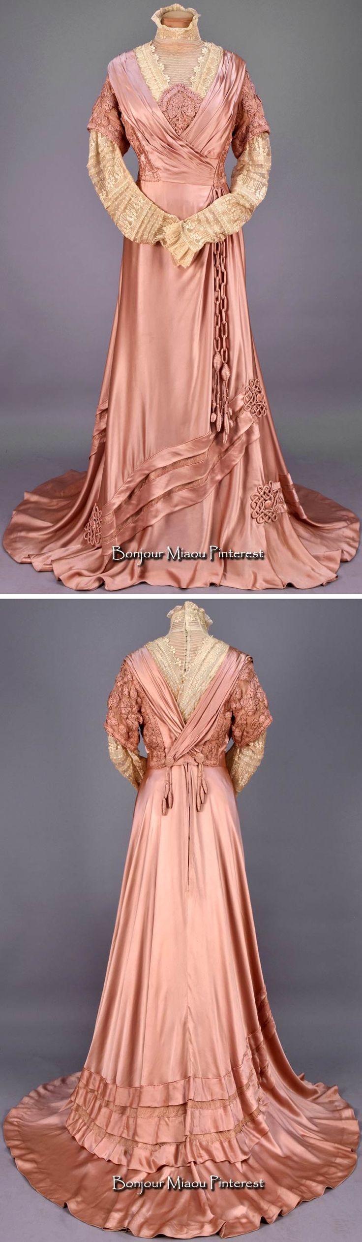 Afternoon dress, Templier et Rondeau, Paris, ca. 1908. Dusty rose silk charmeuse with cream embroidered net high-neck bodice insert and long sleeve, pleated silk wrap-front bodice with heavily embroidered short chiffon sleeve, inserts and center oval, draped and angled skirt, self tassels at back and ends of self chain suspended from waist, trained skirt decorated with net inserts and Celtic knot appliques, satin under-skirt with pleated hem ruffle. Woven waistband label. Whitaker Auctions