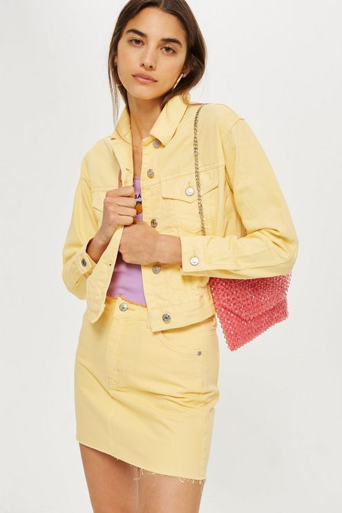 063f5ac247 Amarillo / Yellow | Clothes in 2019 | Topshop denim jacket, Denim jacket  outfit summer, Yellow denim skirt