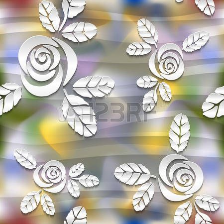 Blurred seamless wavy pattern with roses.  3D vector abstract background. Eps-10