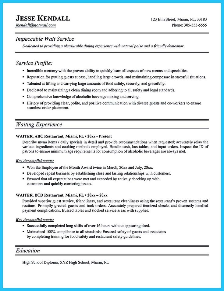 12 best 7 16 2017 bartender resume images on Pinterest Sample - resume waitress