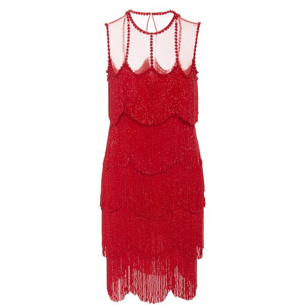 Naeem Khan     Sleeveless Flapper Fringe Mesh Neckline Mini Dress (19.310 BRL) ❤ liked on Polyvore featuring dresses, red, flapper dress, red mesh dress, fringed dresses, short mini dress and red flapper dress