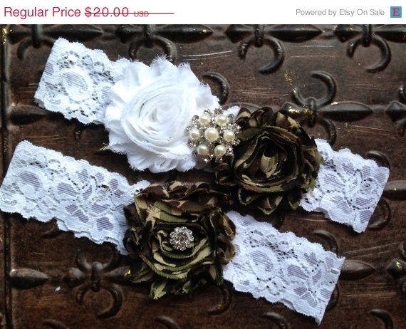 ON SALE Camo Wedding Garter Set Camo Wedding by TheRaggedDiamond, $16.00