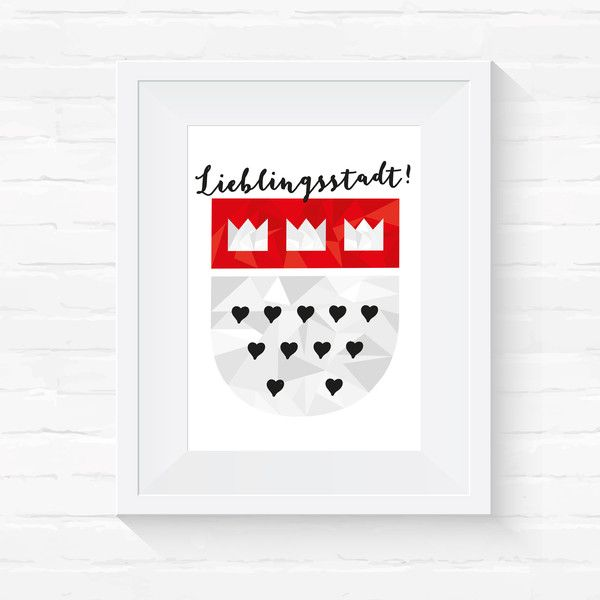 Originaldruck - A4 Druck // Köln // Lieblingsstadt // Wappen - ein Designerstück von Veedelswerk bei DaWanda. #köln #kölnerdom #print #cologne #dawanda #herz #liebe #stadt #rhein #city #A4 #Veedelswerk #liebedeinestadt #dom #karneval #alaaf #travel #wanderlust