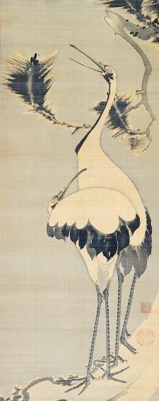 双鶴図 Pair of Cranes, ITO Jakuchu 伊藤若冲